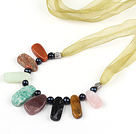 black pearl multi color stone necklace with ribbon