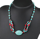 17.5 inches turquoise and red coral necklace with moonlight clasp