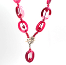 Rose Pink Agate Donut Lariat Necklace