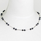 6-7mm natural fresh water black pearl necklace