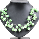 Trendy Style Multi Strand Apple Green Seashell Beads Twisted Necklace With Bending Alloyed Tube