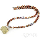 Brown Freshwater Pearl Necklace with Lemon Quartz Pendant ( Irregular Shape )
