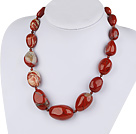 12-25mm red gem graduated necklace with moonlight clasp