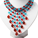 Amazing Red and Blue Teardrop Crystal Tassel Party Necklace
