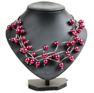 Trendy Style Multi Strand Wine Red Seashell Beads Twisted Necklace With Bending Alloyed Tube