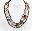 three strand brown pearl gray agate necklace with heart shape clasp