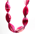 Rose Pink Stripe Agate Necklace with Big Lobster Clasp