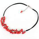 simple and fashion white pearl red coral necklace with extendable chain