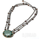 Natural Green Agate and Smoky Quartz Necklace with Metal Chain