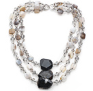 Multi Strands Madagascar Agate and Crystal Necklace under $100