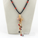 black pearl and red agate y shape necklace with lobster clasp