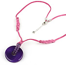 simple and fashion natual purple agate necklace with extendable chain