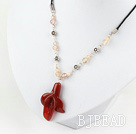 simple and fashion natural trumpet flower agate necklace with extendable chain