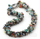 18.5 inches 3 strand multi colored stone necklace