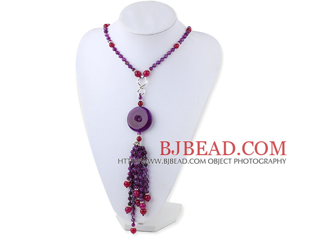 Fashion Style Purple Agate Y Shape Tassel Necklace with Purple Agate Donut