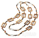 trendy long style natural agate pearl shell necklace