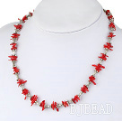 18 inches single strand red coral necklace with toggle clasp