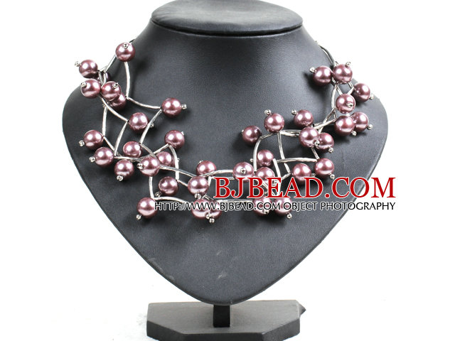 Trendy Style Multi Strand Purplish Gray Seashell Beads Twisted Necklace With Bending Alloyed Tube