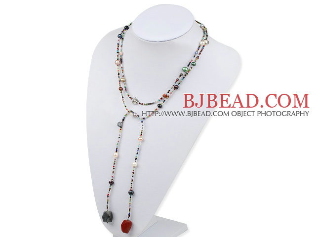 sodalite and red gem and multi colored pearl long style necklace