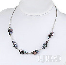 lovely natural black pearl necklace