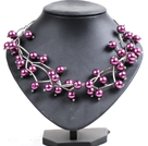 Trendy Style Multi Strand Purple Seashell Beads Twisted Necklace With Bending Alloyed Tube