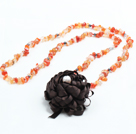 Trendy Simple Style Long Gemstone Chips Necklace with Statement Flower Charm (Agate, Aventurine, Clear Crystal, Black Agate--Random Delivery) under $ 7