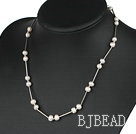 17.5 inches 6-7mm white pearl necklace with lobster clasp