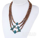 3 strand dyed golden color pearl and blue jade necklace
