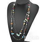 fashion long style dyed pearl and crystal necklace under $7