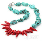 tribal jewelry turquoise and red coral necklace