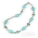 burst pattern turquoise tibet silver necklace with toggle clasp
