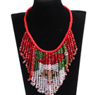 Luxurious Sparkly Red & Green Crystal Father Christmas / Santa Claus Statement Tassel Red Thread Hand-Knitted Necklace