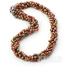 18.5 inches 4-strand dyed brown pearl necklace with moonlight clasp under $14