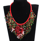 Luxurious Sparkly Red & Green Crystal Christmas Statement Tassel Red Thread Hand-Knitted Necklace