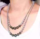 chunky style 8-16mm blue agate beaded necklace with moonlight clasp