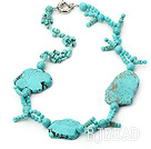 chunky style turquoise necklace with moonlight clasp