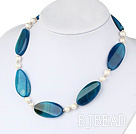 natural white pearl and blue agate necklace under $ 40
