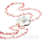 fashion long style cherry quartze chips and shell flower necklace with lobster clasp under $ 40