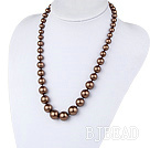 19.5 inches coffee color seashell graduated beaded necklace under $ 40
