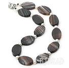 18 inches line patterned black agate necklace with moonlight clasp