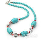 18 inches blue turquoise and red alaqueca necklace with toggle clasp