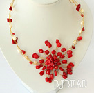 white pearl and red coral flower necklace with moonlight clasp under $14