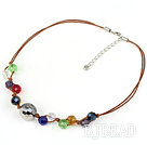 18 inches multi color crystal necklace with brown thread