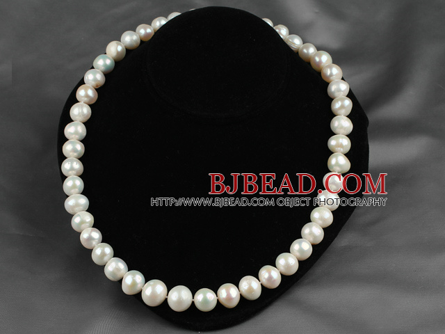 Nearly Round White Freshwater Pearl Beaded Graduated Necklace