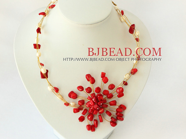 7f769e2441ee perlas de coral rojo y collar de flores blancas con cierre de luz de la luna