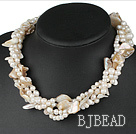 19 inches four strands white pearl and shell necklace with moonlight clasp