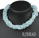 aquamarine chips long style necklace