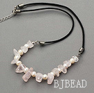 17.5 inches white pearl and rose quartz necklace with lobster clasp