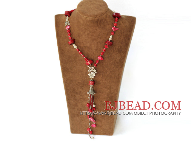 fashion white pearl and red coral Y shaped necklace