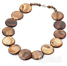 17.5 inches brown pearl shell necklace with lobster clasp under $ 40